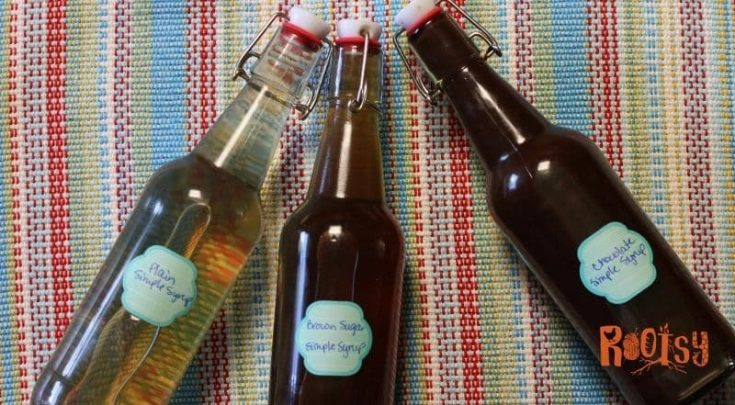 three simple syrups in bottles - plain, brown sugar, and chocolate