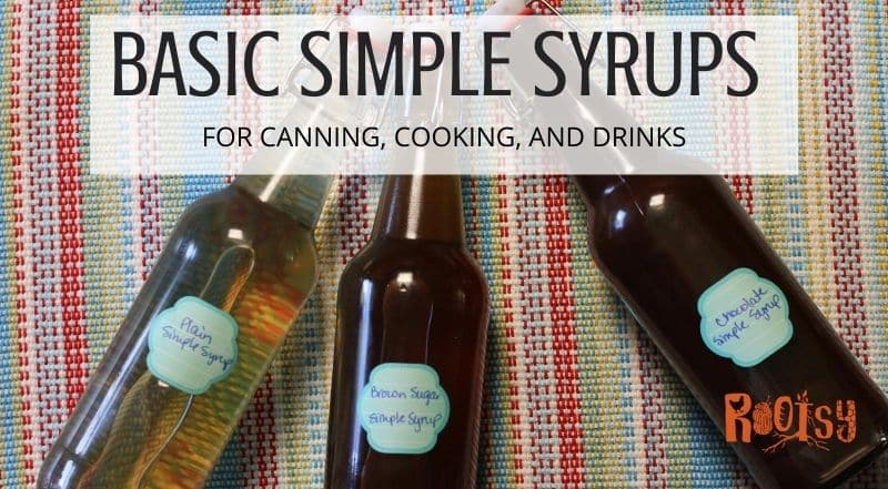 bottles of three different simple syrups - plain, brown sugar, and chocolate