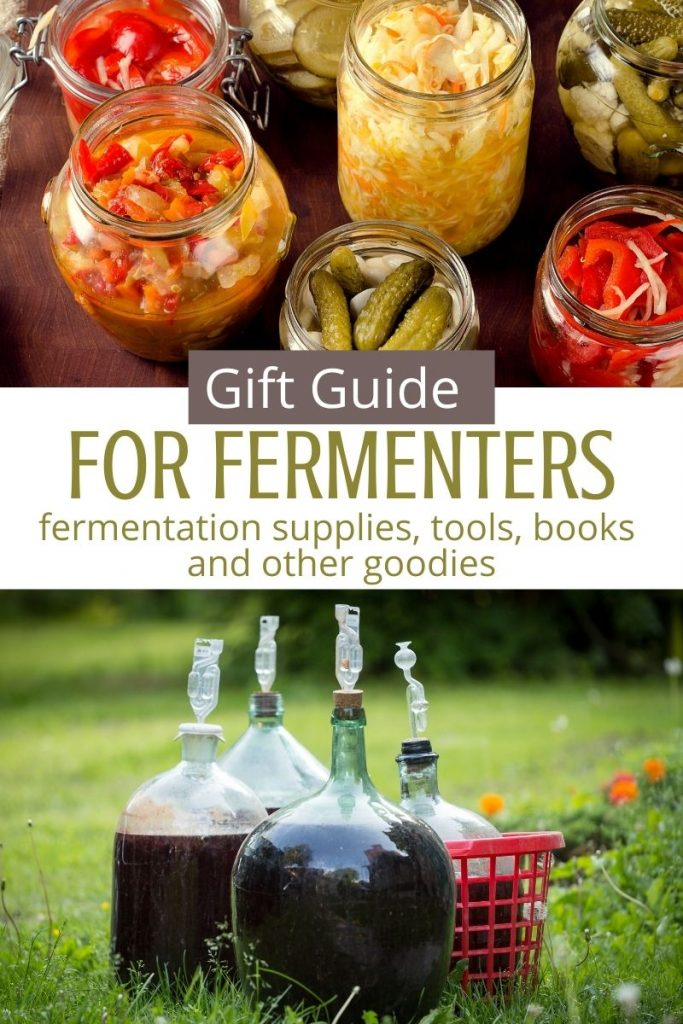 collage of fermented foods in fermentation jars