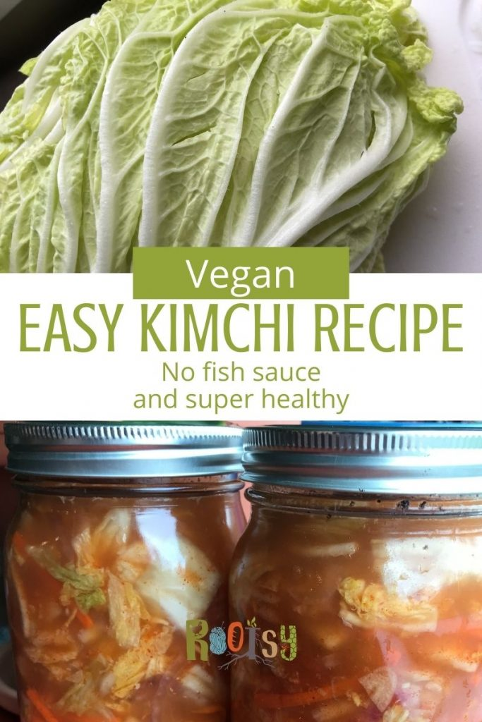 collage of making kimchi with Chinese cabbage and jars of finished kimchi