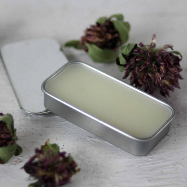 Honey lip balm in a rectangular metal tin surrounded by dried flowers on white table.