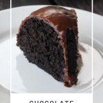A slice of glazed cake on a white plate with text overlay stating: chocolate pumpkin cake.