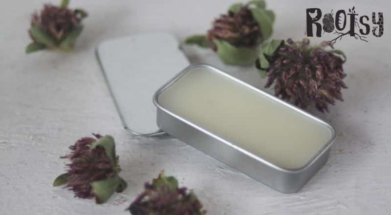 A rectangular metal tin full of homemade honey lip balm surrounded by dried flowers.
