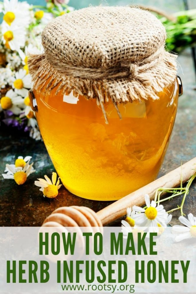 A jar of honey with honey dipper surrounded by fresh herbs and flowers with text overlay stating: how to make herb infused honey.