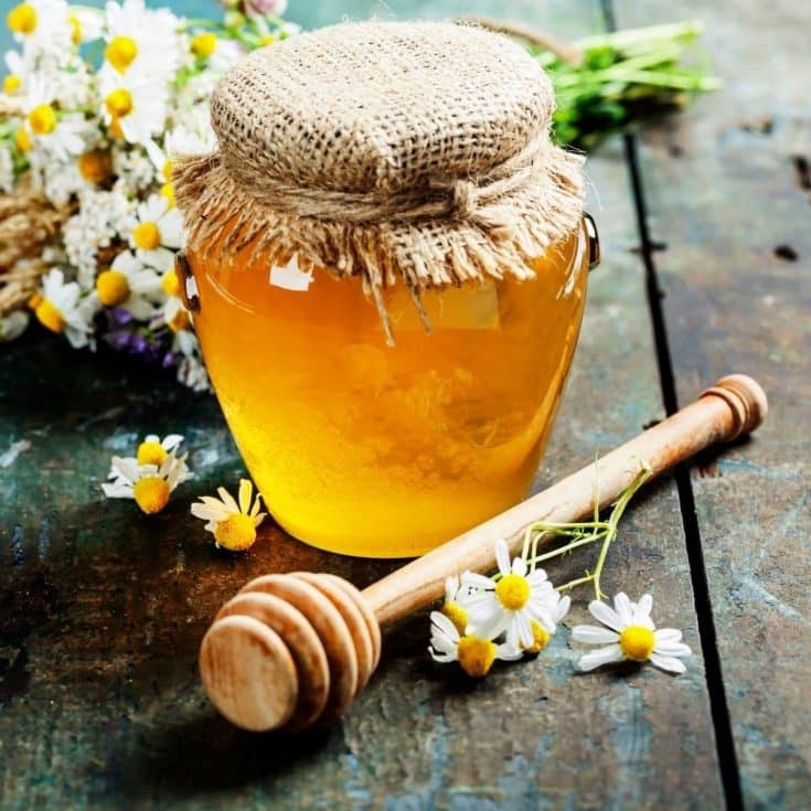 A jar of honey with honey dipper surrounded by fresh herbs and flowers.