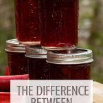 Jars of jelly stacked on top of each other with text overlay stating: the difference between jam & jelly.
