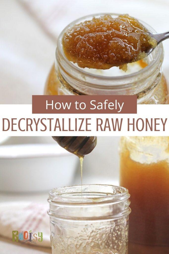 crystallized honey on spoon in mason jar