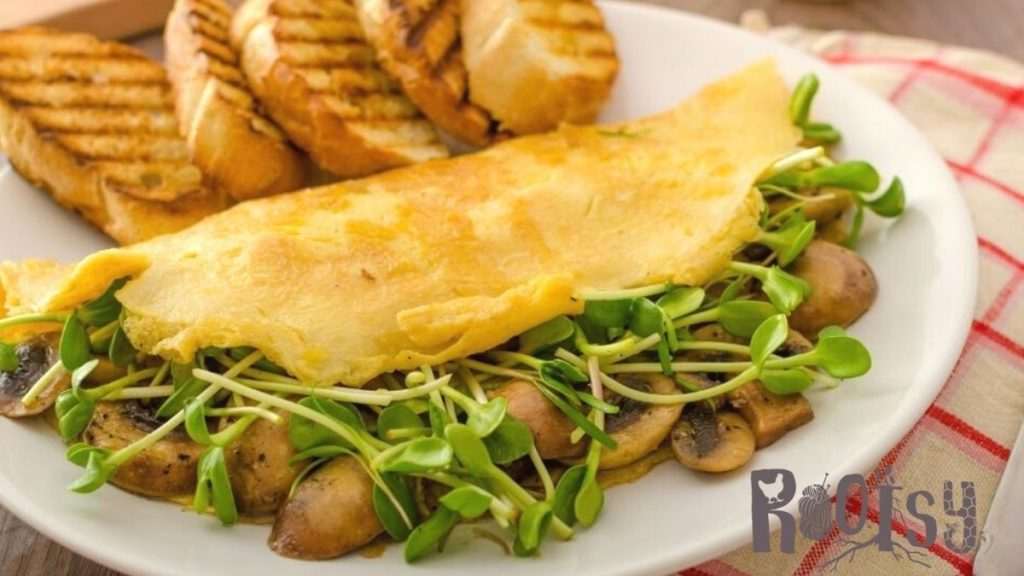 mushroom and microgreen omelet with toast